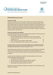 PTSD treatment and recovery - Australian Centre for Posttraumatic ...