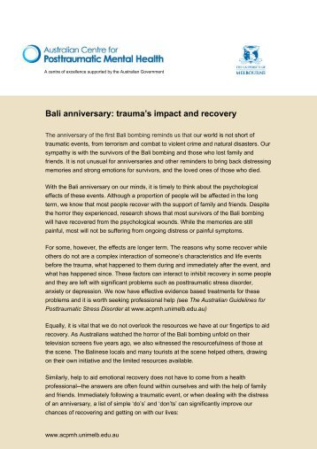 Bali bombing anniversay 2007 - Australian Centre for Posttraumatic ...