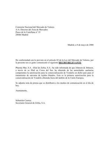 08/05/2008Hecho Relevante - Zeltia