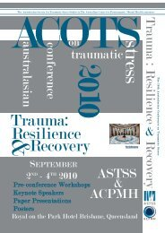 Recovery Resilience Trauma: - Australian Centre for Posttraumatic ...
