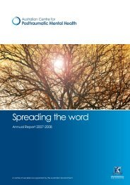 Spreading the word - Australian Centre for Posttraumatic Mental ...