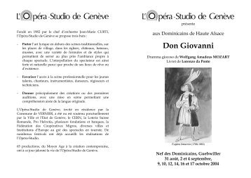 Don Giovanni - L'Opéra-Studio de Genève