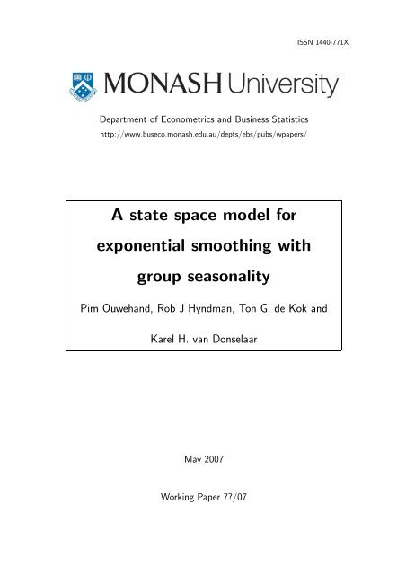 A state space model for exponential smoothing with