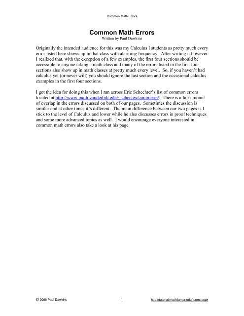Common Math Errors - Pauls Online Math Notes