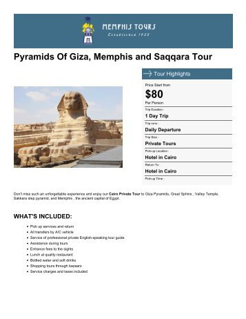 Pyramids Of Giza, Memphis and Saqqara Tour - Memphis Tours Egypt