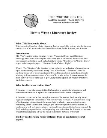 How to Write a Literature Review - College of Letters, Arts & Social ...