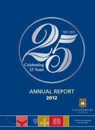 ANNUAL REPORT - Canterbury College
