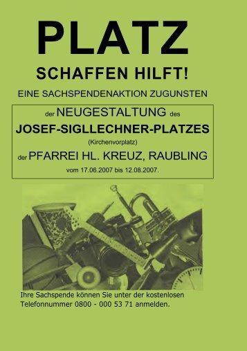 PLATZ SCHAFFEN HILFT! - Pfarrei Heilig Kreuz Raubling