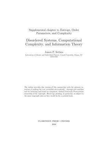 Disordered Systems, Computational Complexity, and Information ...