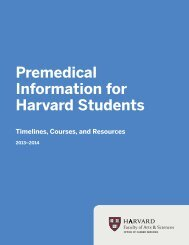 Premedical Information for Harvard Students - Office of Career ...
