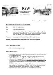 6. August 2007 - Protokoll der Vorstandssitzung - Weldergoven