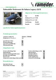 Einbauhilfe Elektrosatz für Subaru Legacy 2,0 R