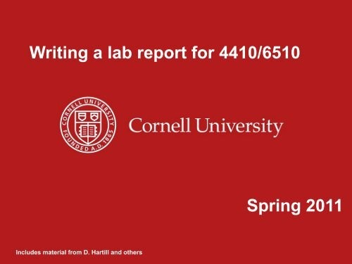 Spring 2011 Writing a lab report for 4410/6510