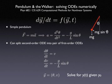 Lecture on Pendulum, Walker, and Solving ODEs