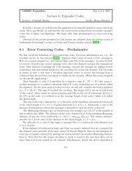 Lecture 6: Expander Codes 6.1 Error Correcting Codes – Preliminaries