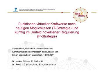 Funktionen virtueller Kraftwerke nach heutigen ... - Web2Energy