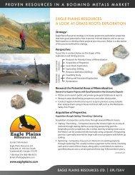Grass Roots Exploration - Eagle Plains Resources