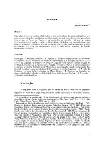 Legística - Assembleia Legislativa do Estado de São Paulo