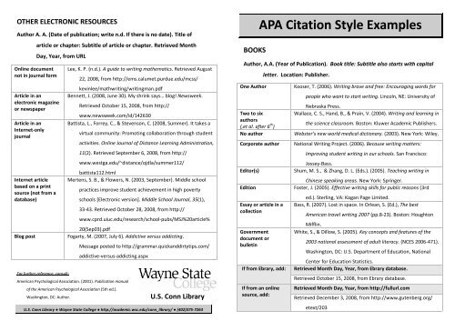 APA Citation Style Examples - Wayne State College