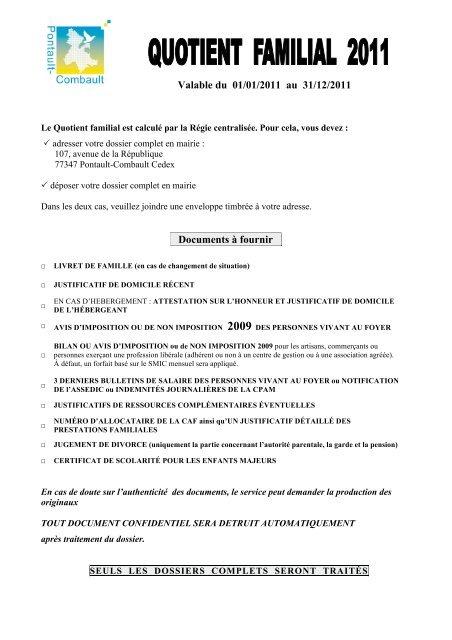 Valable Du 01 01 2011 Au 31 12 2011 Documents à Fournir