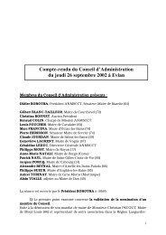 Compte-rendu du Conseil d'Administration du jeudi 26 septembre ...
