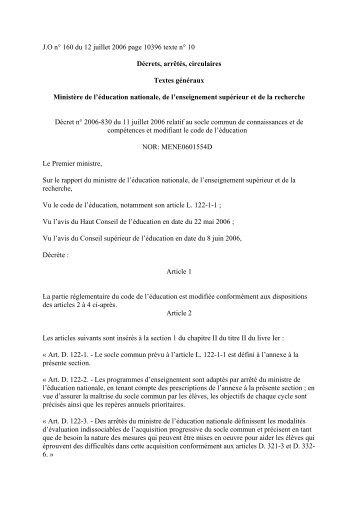 Décrêt n°2006-830 du 11 07 06 socle commun - IUFM