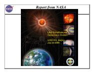 Report from NASA - International Living With a Star (ILWS)