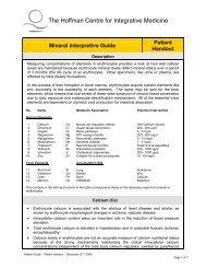 Mineral Interpretive Guide - Hoffman Centre for Integrative Medicine