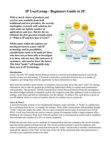 IP UserGroup - Beginners Guide to IP.