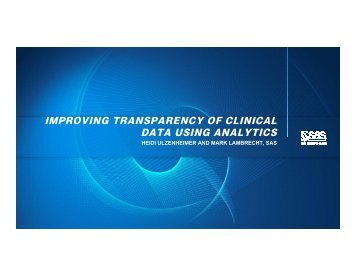 improving transparency of clinical data using analytics - PhUSE Wiki