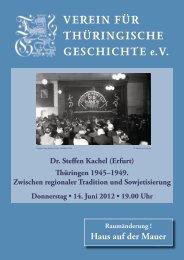 Dr. Steffen Kachel (Erfurt) - Verein für Thüringische Geschichte