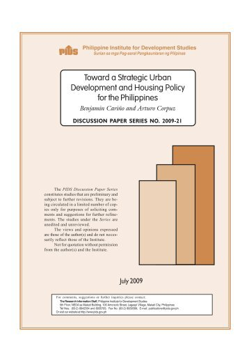 Toward a Strategic Urban Development and Housing Policy for the ...