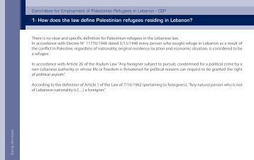1- How does the law define Palestinian refugees residing in Lebanon?