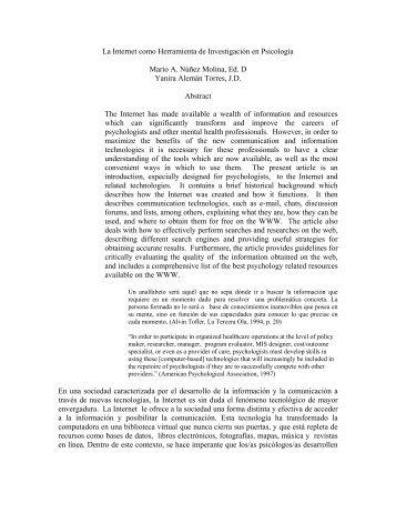 La Internet como Herramienta de Investigación en Psicología - UPRM