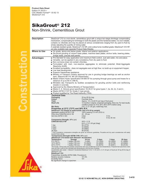 SikaGrout® 212 - Sika Canada