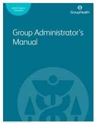 Group Administrator's Guide - Group Health Cooperative