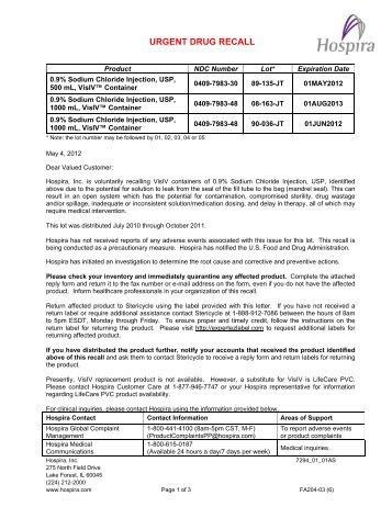 0.9% Sodium Chloride Inj., VisIV™ Container Recall - Hospira