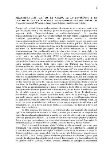 1 LITERATURA MÁS ALLÁ DE LA NACIÓN. DE LO CENTRÍPETO Y ...
