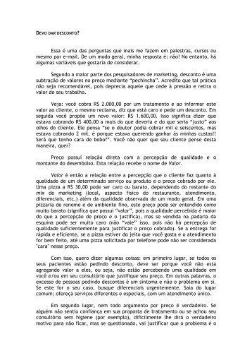 Devo dar desconto?/Dr. Plínio Thomaz - Uningasm.com.br