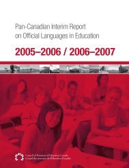 Pan-Canadian Interim Report on Official Languages in Education