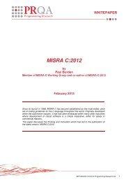 PR's White paper on MISRA C 2012 CLICK HERE - Phaedsys