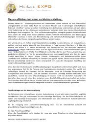 Messe als Marketinginstrument - Helee Expo Consulting & Service