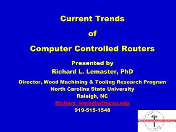 Current Trends in Computer Controlled Routers - Northern Forest ...