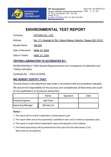ENVIRONMENTAL TEST REPORT - ICP DAS