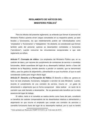 REGLAMENTO DE VIÁTICOS DEL MINISTERIO PÚBLICO