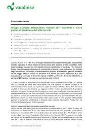 Gruppo Vaudoise Assicurazioni: risultato 2011 eccellente e nuova ...