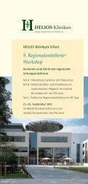 9. Regionalanästhesie- Workshop - HELIOS Kliniken GmbH