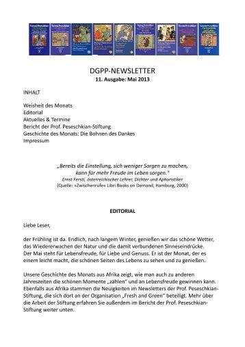 Newsletter 11, Mai 2013 - Positive und Transkulturelle Psychotherapie