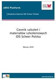 Cennik szkoleń i materiałów szkoleniowych IDS Scheer Polska