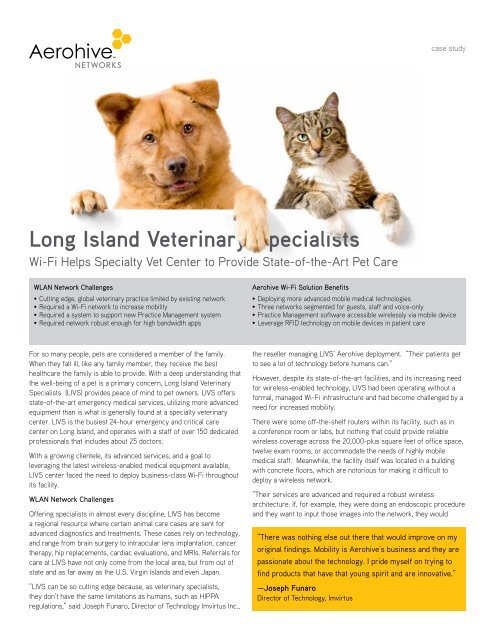Long Island Veterinary Specialists - Aerohive Networks